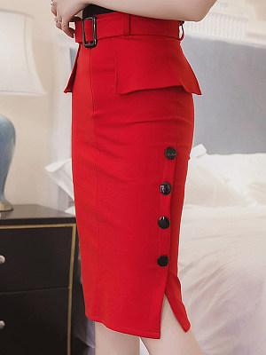 Plain Belt Peplum Side Slit Pencil Midi Skirt фото
