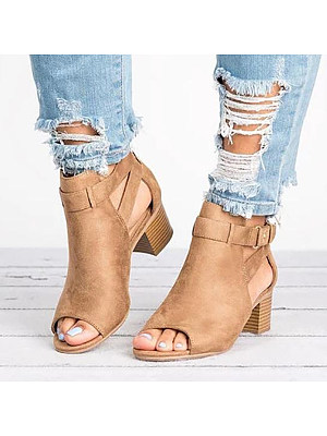 Plain Chunky Mid Heeled Velvet Ankle Strap Peep Toe Date Outdoor Sandals, 4936211
