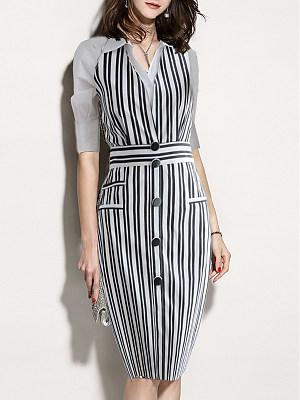 Fold Over Collar Striped Bodycon Dress, 6650833