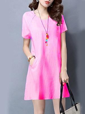 Round Neck Patch Pocket Plain Shift Dress, 4417037