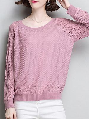 Round Neck Patchwork Elegant Plain Long Sleeve Knit Pullover, 8440925