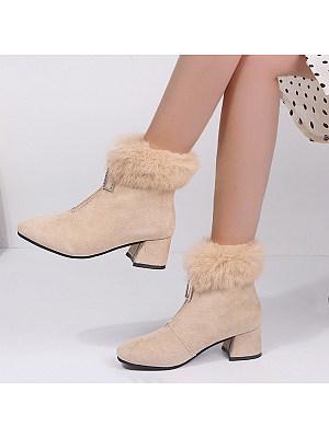 Plain Chunky Point Toe Boots, 9430072