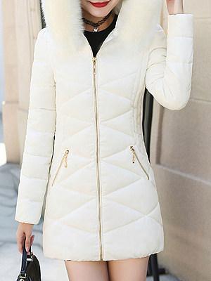 Hooded Zips Plain Long Sleeve Coats фото