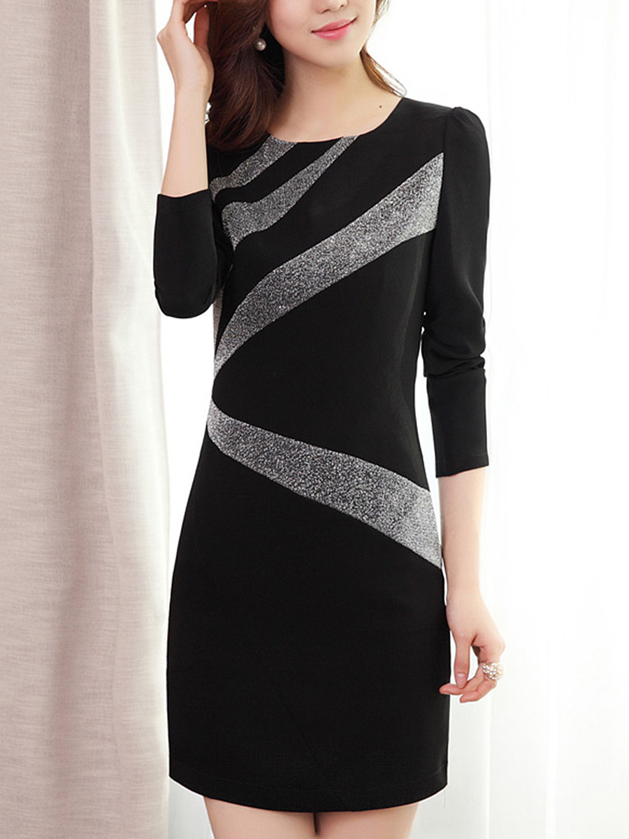 Round Neck  Color Block Long Sleeve Bodycon Dresses