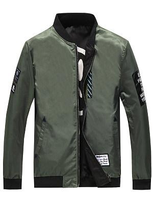 Band Collar Decorative Patch Men Bomber Jacket