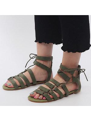 Plain Flat Velvet Peep Toe Casual Date Gladiator Sandals, 6167760