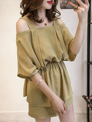 Open Shoulder Patchwork Plain Blouses And Bottoms Suits фото