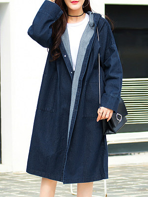 Hooded Single Breasted Plain Trench Coat, 6133511