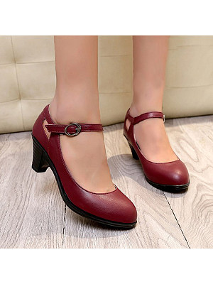 Plain Chunky Mid Heeled Round Toe Casual Date Office Pumps фото