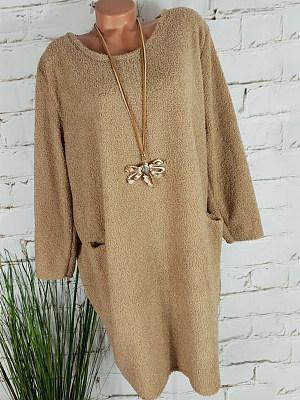 Round Neck Patch Pocket Plain Shift Dress, 9042403