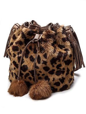Faux Fur Leopard Striped Drawstring Tassel Decoration Shoulder Bag