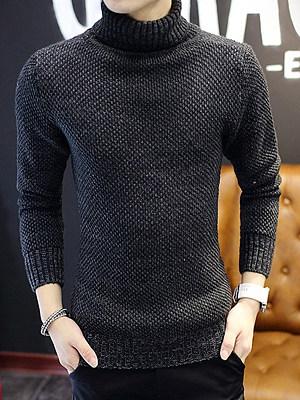 Turtleneck Plain Men'S Sweater