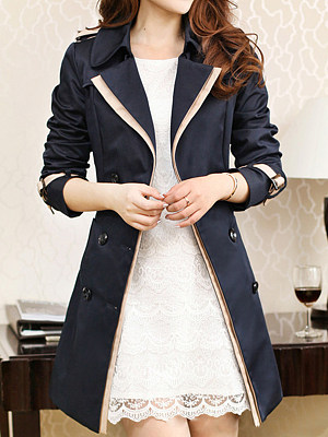 Lapel Belt Pocket Contrast Trim Trench Coat, 3858320