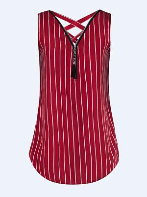 V Neck Zipper Stripes Blouses, 6647800