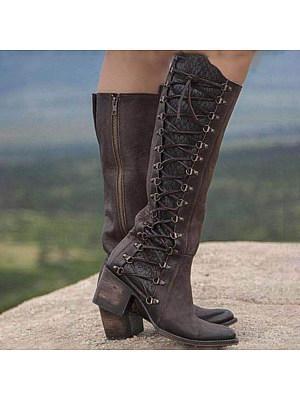 Chunky High Heeled Round Toe Date Outdoor Knee High High Heels Boots, 8509041