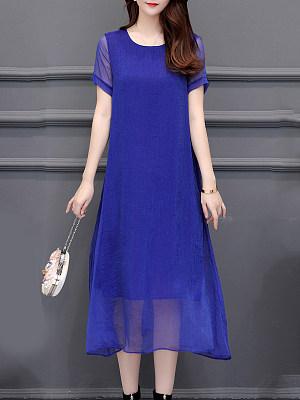 Berrylook Round Neck Plain Maxi Dress cheap online stores, stores and shops, Fitted Maxi Dresses, petite dresses, floral dresses