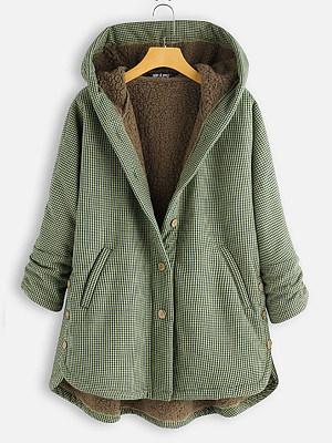 Hooded Plaid Coat, 8922094