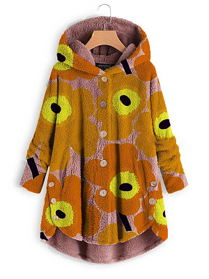 Casual Round Neck Long Sleeve Printed Colour Hooded Fleece Jacket, 8497019