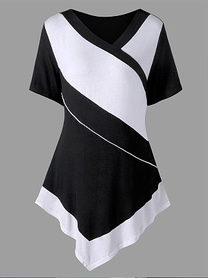 Autumn Spring Polyester Women V-Neck Asymmetric Hem Color Block Short Sleeve T-Shirts, 5887203