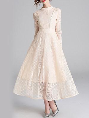 BERRYLOOK / Band Collar  Plain Maxi Dress