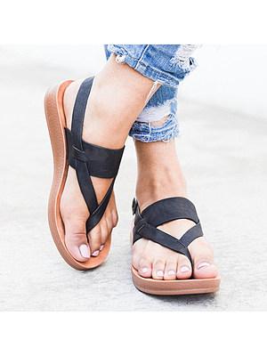 Plain Peep Toe Casual  Flat Sandals