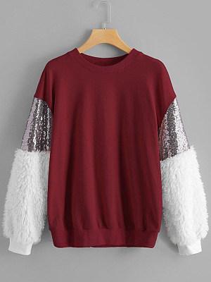 Round Neck  Patchwork Sequin  Color Block Sweatshirt