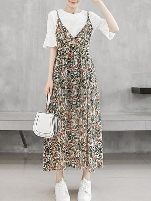 Spaghetti Strap Print Maxi Dress