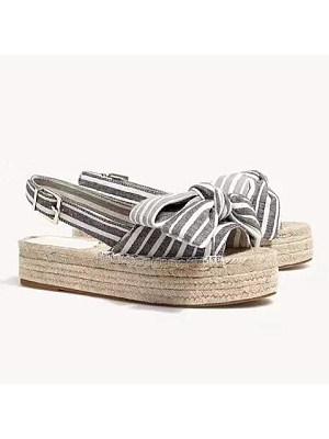 De Zapatos Rayado Abierta Punta Casual 5zTw7