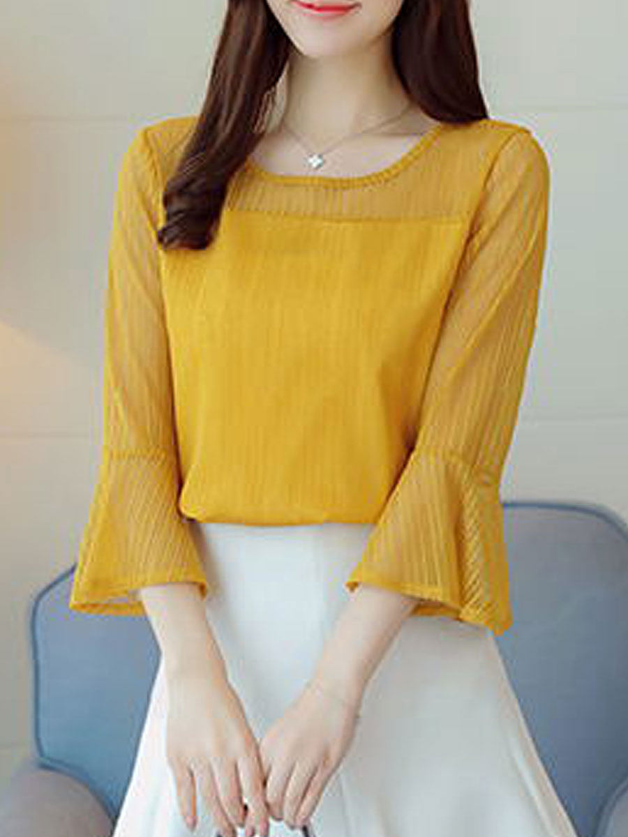 Spring Summer  Polyester  Women  Round Neck  See-Through  Plain  Bell Sleeve  Three-Quarter Sleeve Blouses