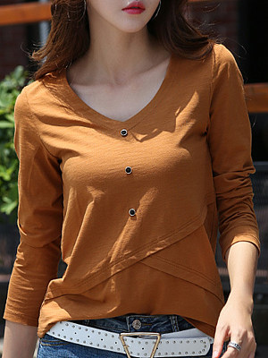 V Neck Decorative Buttons Plain Long Sleeve T-Shirts
