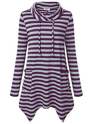 Cowl Neck Asymmetric Hem Stripes Sweatshirt