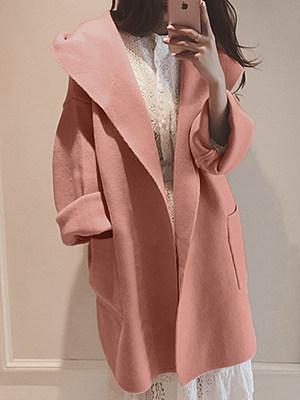 Hooded Patch Pocket Plain Woolen Coat