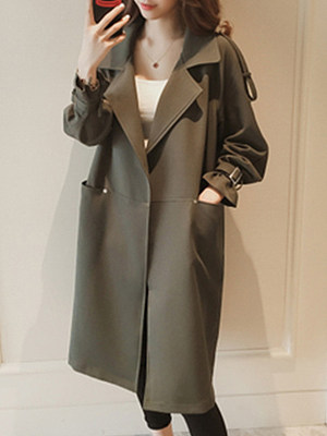 Lapel Loose Fitting Plain Trench Coat