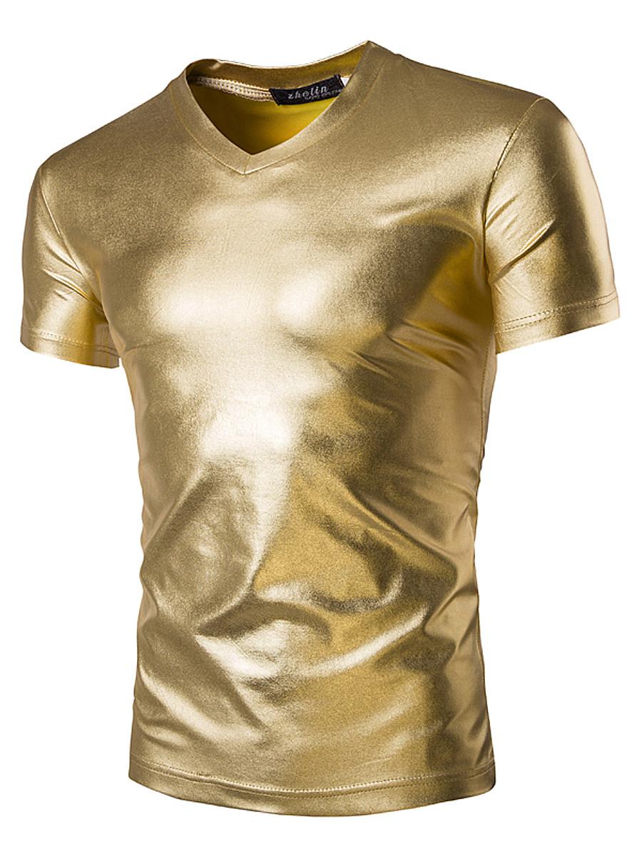 Sparkling Men V-Neck Plain Short Sleeve T-Shirt