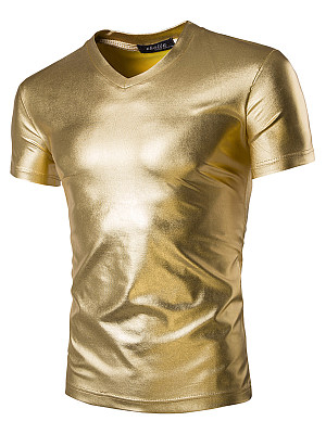 Sparkling Men V-Neck Plain Short Sleeve T-Shirt