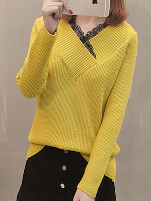 V-Neck Decorative Lace Patchwork Plain Long Sleeve Sweaters Pullover
