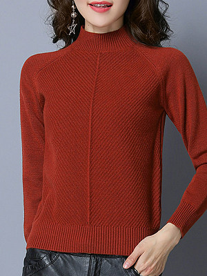 Short High Collar Elegant Plain Long Sleeve Knit Pullover, 10018863