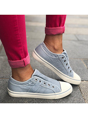 Plain Flat Round Toe Casual Travel Sneakers, 7170074