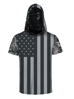Hooded US Flag Printed Men Short Sleeve T-Shirt