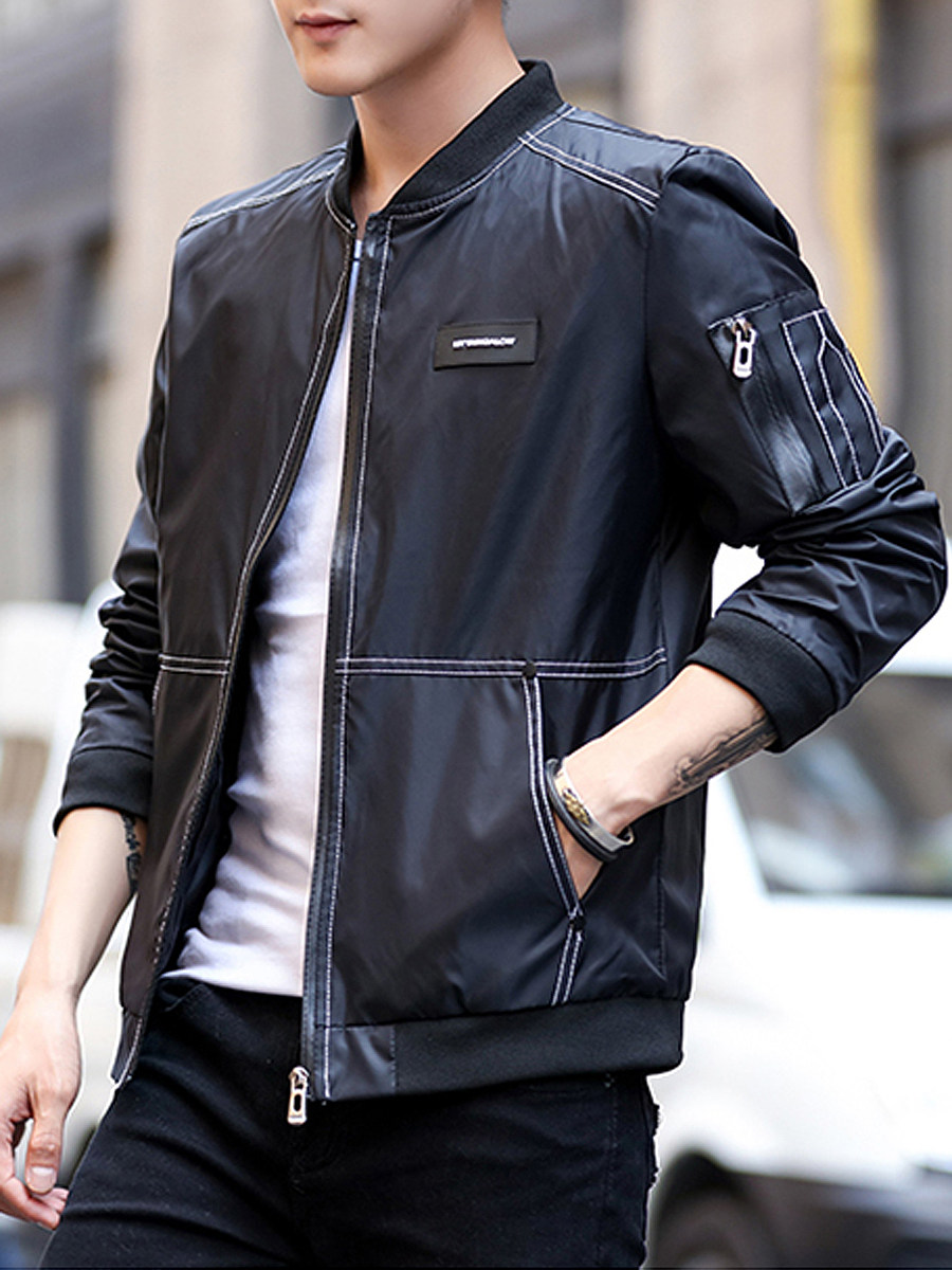 BerryLook Band Collar Contrast Stitching Men Bomber Jacket
