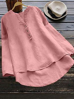 Autumn Spring Women Asymmetric Hem Decorative Button Plain Long Sleeve Blouses