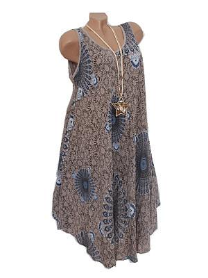 Round Neck  Asymmetric Hem  Print Shift Dress