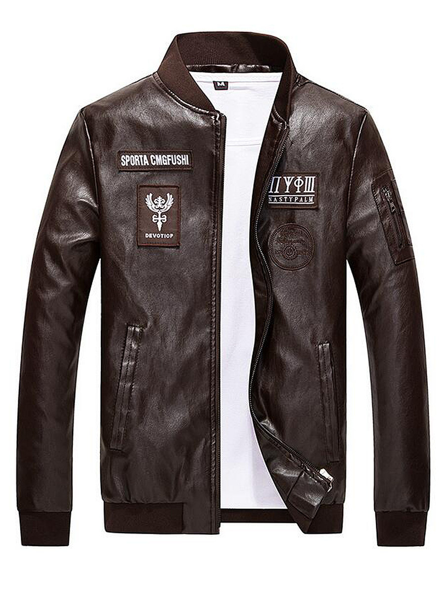 BerryLook Band Collar Decorative Patch Men PU Leather Jacket