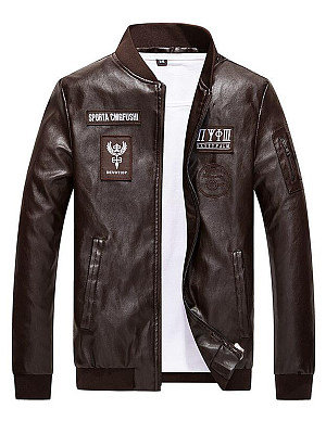 Band Collar Decorative Patch Men PU Leather Jacket фото