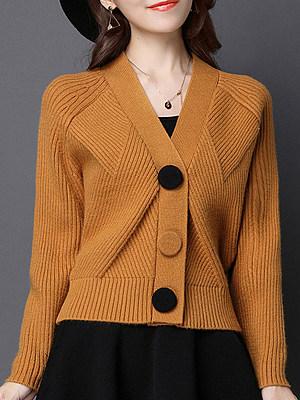 V Neck Cute Plain Batwing Sleeve Long Sleeve Knit Cardigan, 9531019