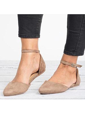 Plain Flat Velvet Ankle Strap Point Toe Date Office Comfort Flats
