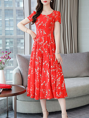 Round Neck Floral Printed Maxi Dress, 7161414