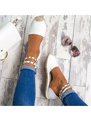 Plain  Flat  Ankle Strap  Round Toe  Casual Date Flat  Socofy  Sandals