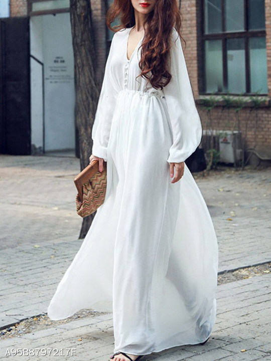 V Neck Long Sleeve Plain Maxi Dress