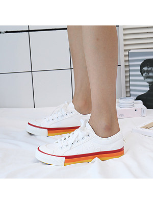 Plain Flat Round Toe Casual Sneakers, 8584298